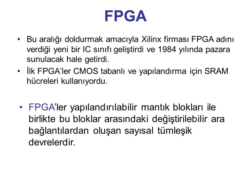 FPGA Bu aralığı doldurmak amacıyla Xilinx firması FPGA adını verdiği yeni bir IC sınıfı geliştirdi ve 1984 yılında pazara sunulacak hale getirdi. İlk