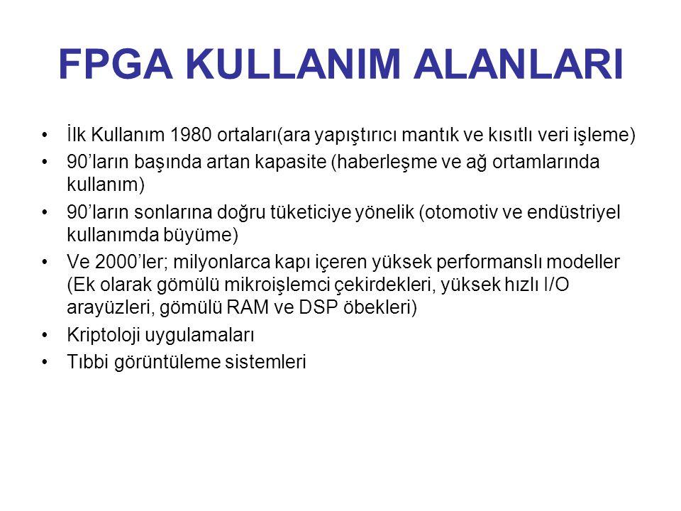 FPGA KULLANIM ALANLARI İlk Kullanım 1980 ortaları(ara yapıştırıcı mantık ve kısıtlı veri işleme) 90'ların başında artan kapasite (haberleşme ve ağ ort