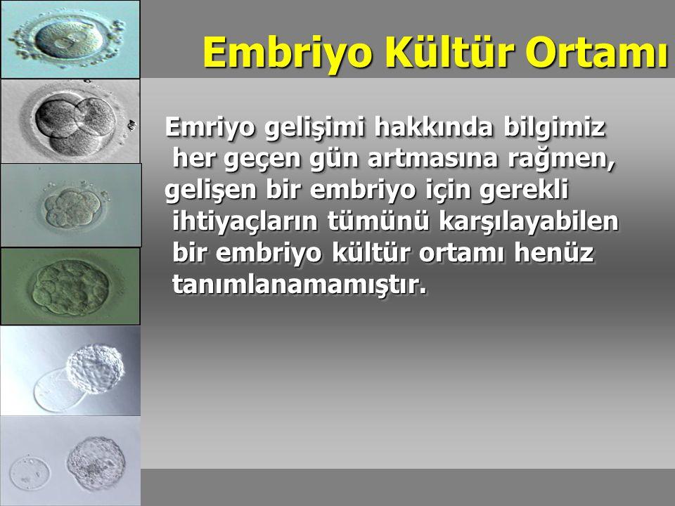 Embriyo Kültür Ortamı Emriyo gelişimi hakkında bilgimiz her geçen gün artmasına rağmen, her geçen gün artmasına rağmen, gelişen bir embriyo için gerekli ihtiyaçların tümünü karşılayabilen ihtiyaçların tümünü karşılayabilen bir embriyo kültür ortamı henüz bir embriyo kültür ortamı henüz tanımlanamamıştır.