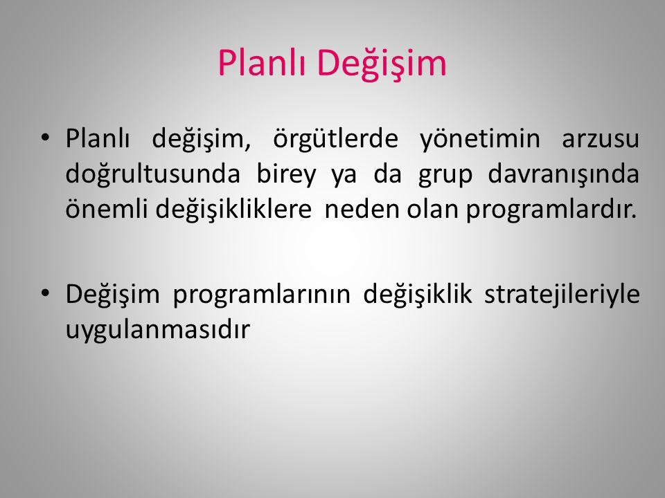 Planlı Değişim Planlı değişim, örgütlerde yönetimin arzusu doğrultusunda birey ya da grup davranışında önemli değişikliklere neden olan programlardır.