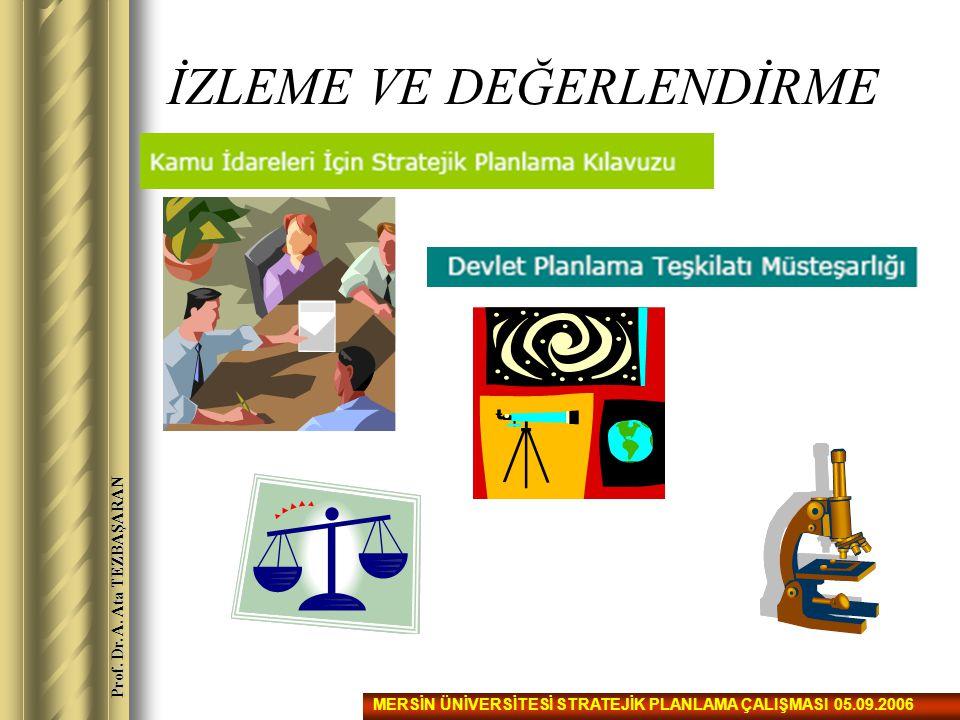 İZLEME VE DEĞERLENDİRME MERSİN ÜNİVERSİTESİ STRATEJİK PLANLAMA ÇALIŞMASI 05.09.2006 Prof. Dr. A. Ata TEZBAŞARAN