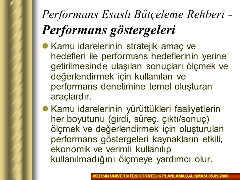 Performans Esaslı Bütçeleme Rehberi - Performans göstergeleri Kamu idarelerinin stratejik amaç ve hedefleri ile performans hedeflerinin yerine getiril