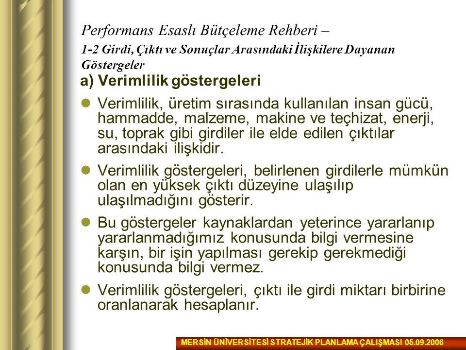 Performans Esaslı Bütçeleme Rehberi – 1-2 Girdi, Çıktı ve Sonuçlar Arasındaki İlişkilere Dayanan Göstergeler a) Verimlilik göstergeleri Verimlilik, ür