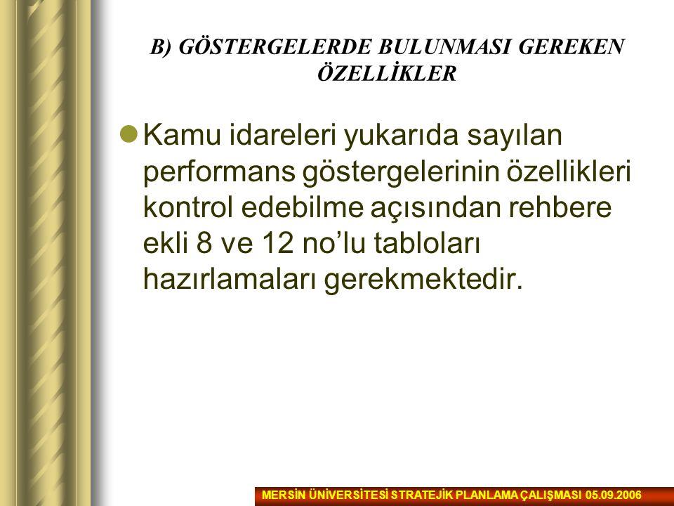 B) GÖSTERGELERDE BULUNMASI GEREKEN ÖZELLİKLER Kamu idareleri yukarıda sayılan performans göstergelerinin özellikleri kontrol edebilme açısından rehber