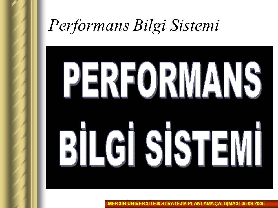 Performans Bilgi Sistemi MERSİN ÜNİVERSİTESİ STRATEJİK PLANLAMA ÇALIŞMASI 05.09.2006