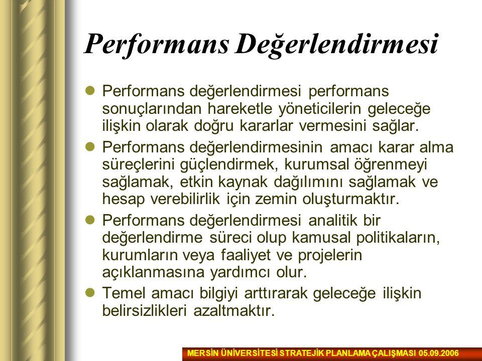 Performans Değerlendirmesi Performans değerlendirmesi performans sonuçlarından hareketle yöneticilerin geleceğe ilişkin olarak doğru kararlar vermesin