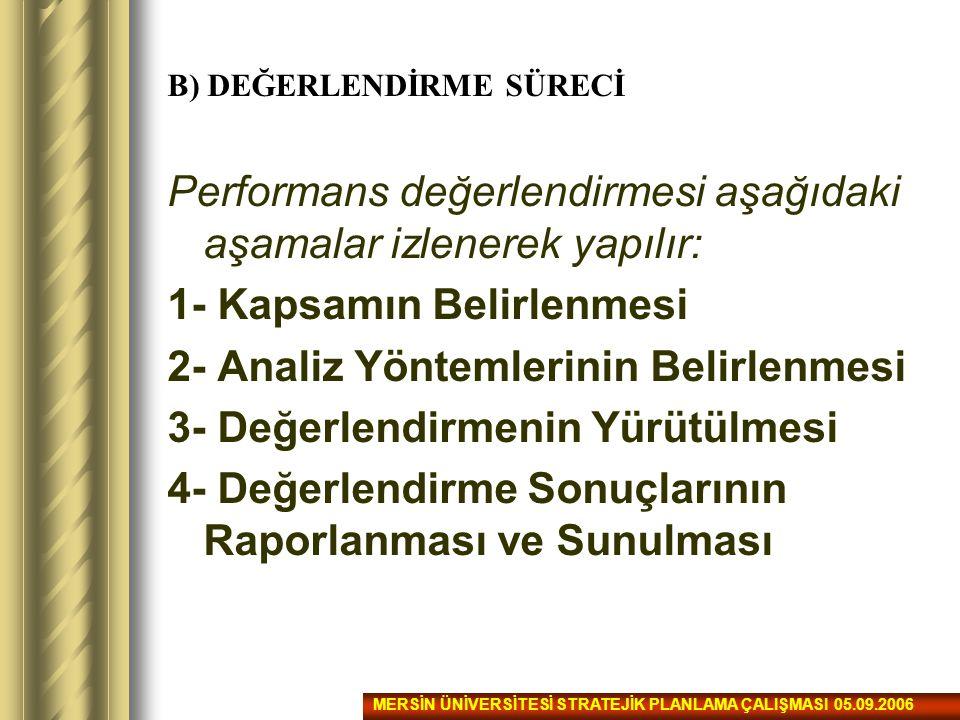 B) DEĞERLENDİRME SÜRECİ Performans değerlendirmesi aşağıdaki aşamalar izlenerek yapılır: 1- Kapsamın Belirlenmesi 2- Analiz Yöntemlerinin Belirlenmesi