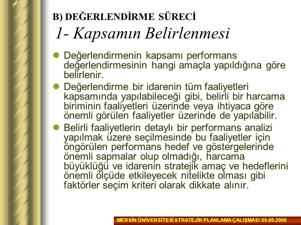 B) DEĞERLENDİRME SÜRECİ 1- Kapsamın Belirlenmesi Değerlendirmenin kapsamı performans değerlendirmesinin hangi amaçla yapıldığına göre belirlenir. Değe