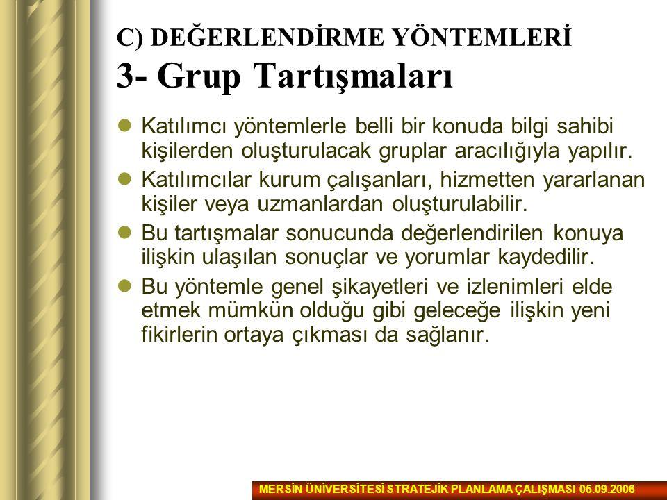C) DEĞERLENDİRME YÖNTEMLERİ 3- Grup Tartışmaları Katılımcı yöntemlerle belli bir konuda bilgi sahibi kişilerden oluşturulacak gruplar aracılığıyla yap