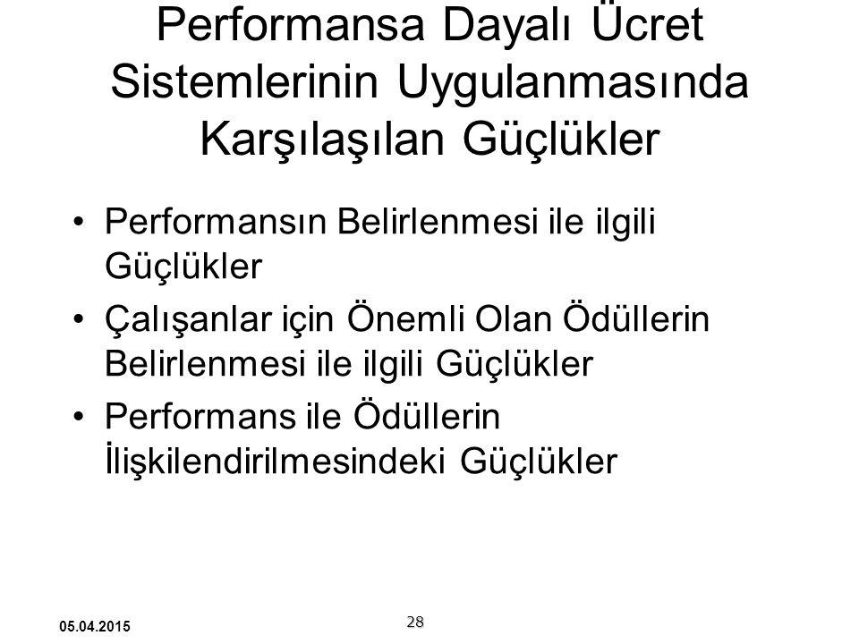 Performansa Dayalı Ücret Sistemlerinin Uygulanmasında Karşılaşılan Güçlükler Performansın Belirlenmesi ile ilgili Güçlükler Çalışanlar için Önemli Olan Ödüllerin Belirlenmesi ile ilgili Güçlükler Performans ile Ödüllerin İlişkilendirilmesindeki Güçlükler 28 05.04.2015