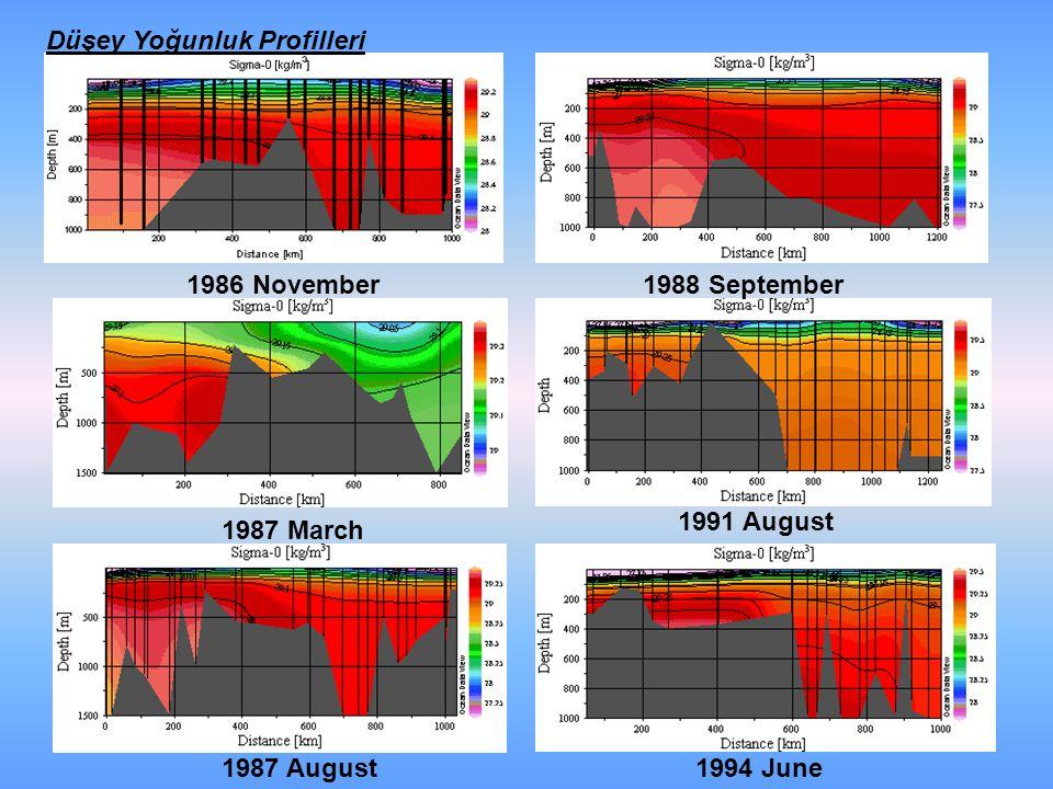 Düşey Yoğunluk Profilleri 1986 November 1987 March 1987 August 1988 September 1991 August 1994 June
