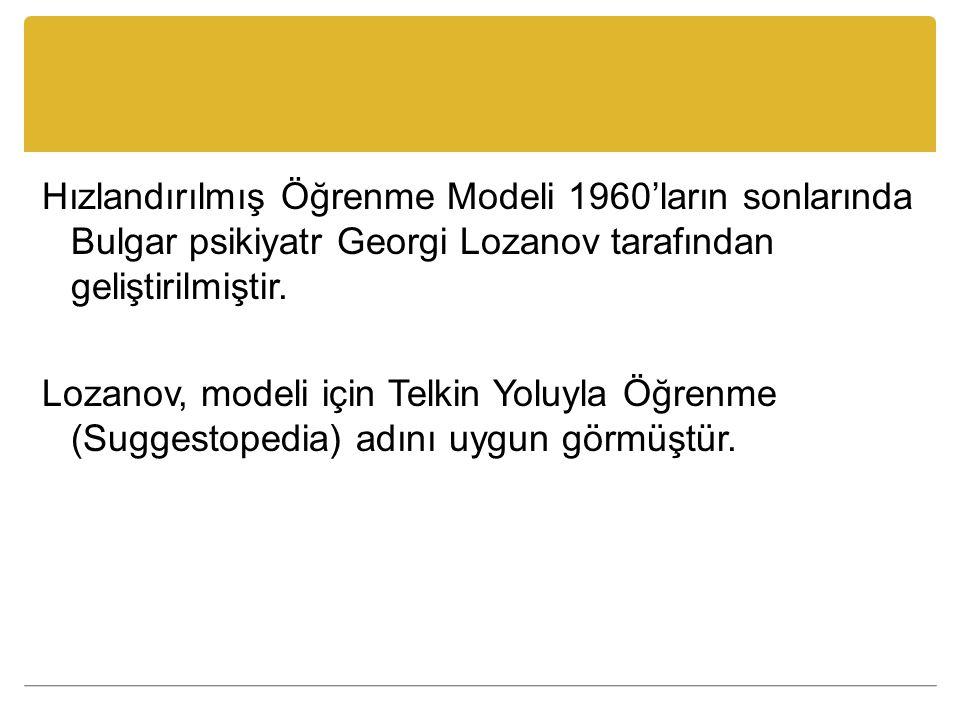 Hızlandırılmış Öğrenme Modeli 1960'ların sonlarında Bulgar psikiyatr Georgi Lozanov tarafından geliştirilmiştir. Lozanov, modeli için Telkin Yoluyla Ö