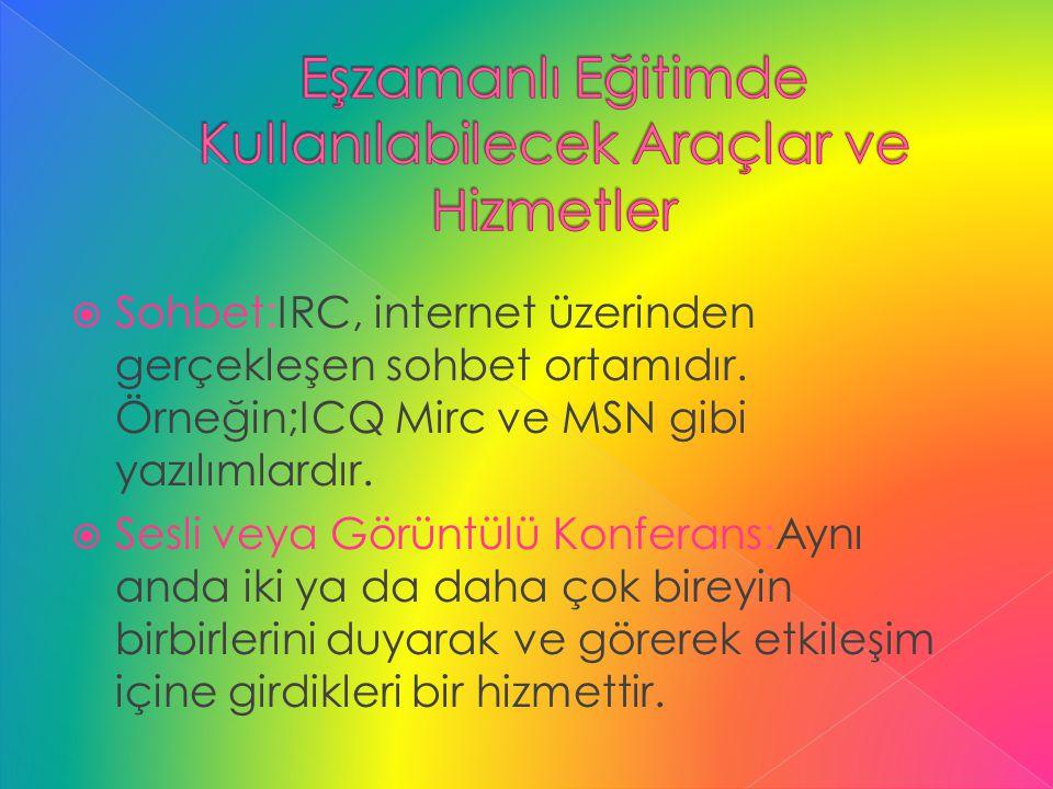  Sohbet:IRC, internet üzerinden gerçekleşen sohbet ortamıdır. Örneğin;ICQ Mirc ve MSN gibi yazılımlardır.  Sesli veya Görüntülü Konferans:Aynı anda