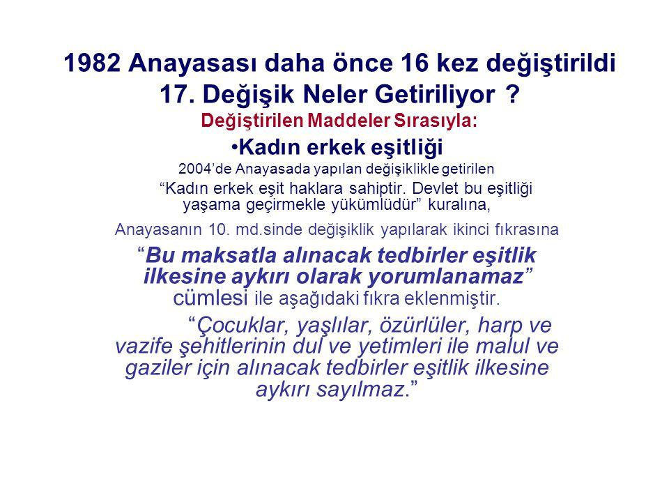 1982 Anayasası daha önce 16 kez değiştirildi 17. Değişik Neler Getiriliyor ? Değiştirilen Maddeler Sırasıyla: Kadın erkek eşitliği 2004'de Anayasada y