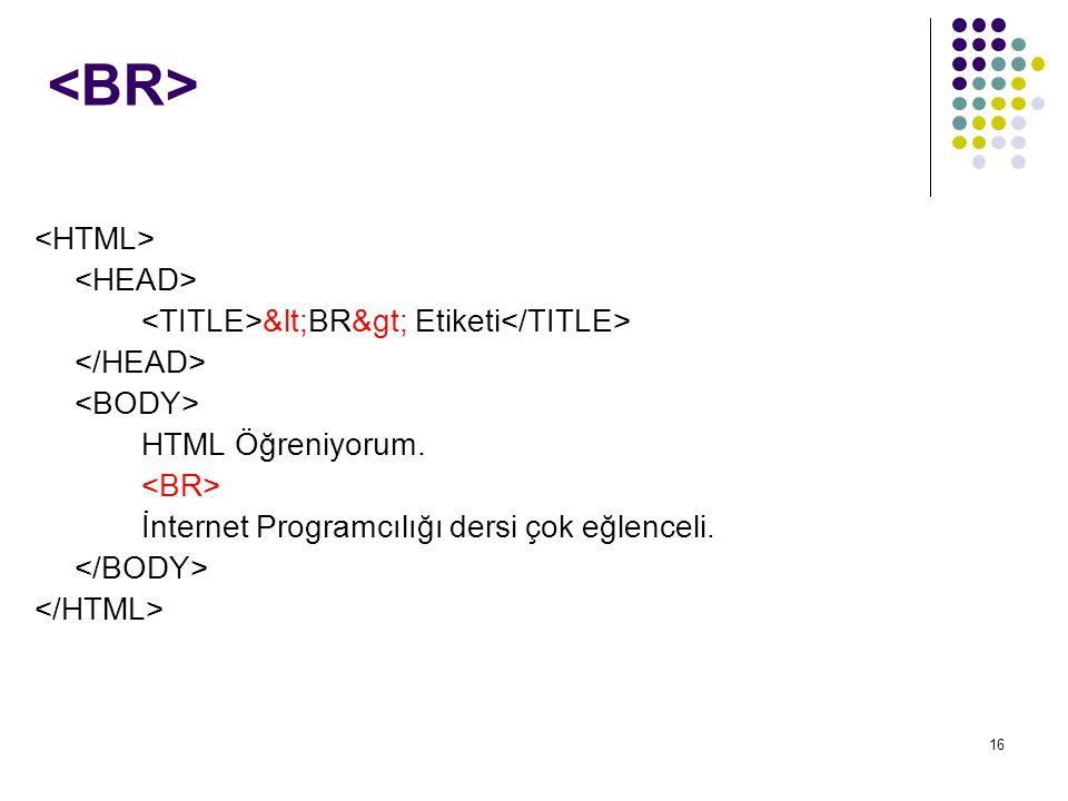 16 <BR> Etiketi HTML Öğreniyorum. İnternet Programcılığı dersi çok eğlenceli.