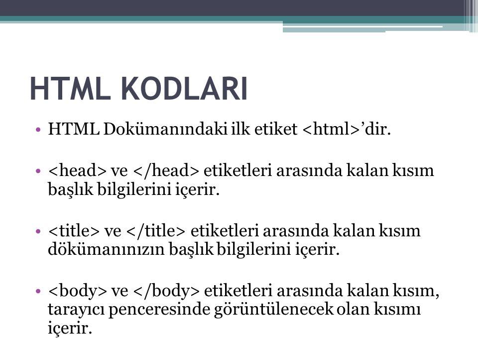 HTML KODLARI HTML Dokümanındaki ilk etiket 'dir.