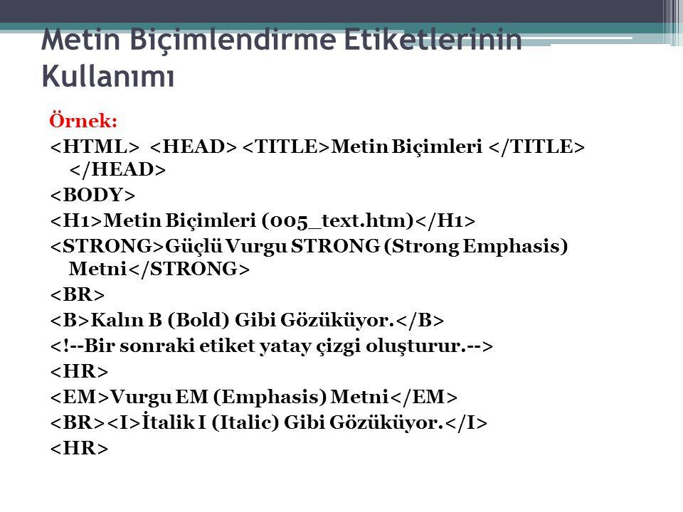Metin Biçimlendirme Etiketlerinin Kullanımı Örnek: Metin Biçimleri Metin Biçimleri (005_text.htm) Güçlü Vurgu STRONG (Strong Emphasis) Metni Kalın B (Bold) Gibi Gözüküyor.