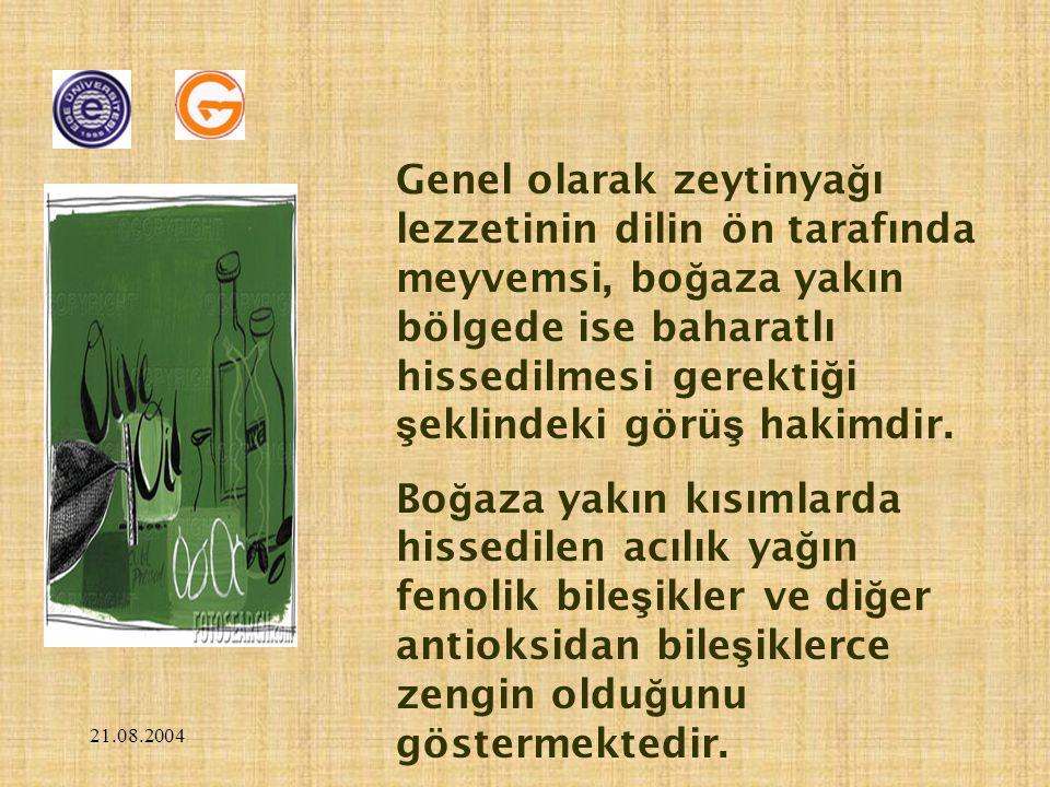 21.08.2004 Genel olarak zeytinya ğ ı lezzetinin dilin ön tarafında meyvemsi, bo ğ aza yakın bölgede ise baharatlı hissedilmesi gerekti ğ i ş eklindeki görü ş hakimdir.