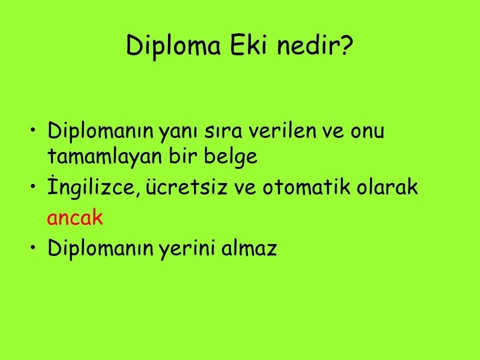 Diploma Eki nedir? Diplomanın yanı sıra verilen ve onu tamamlayan bir belge İngilizce, ücretsiz ve otomatik olarak ancak Diplomanın yerini almaz