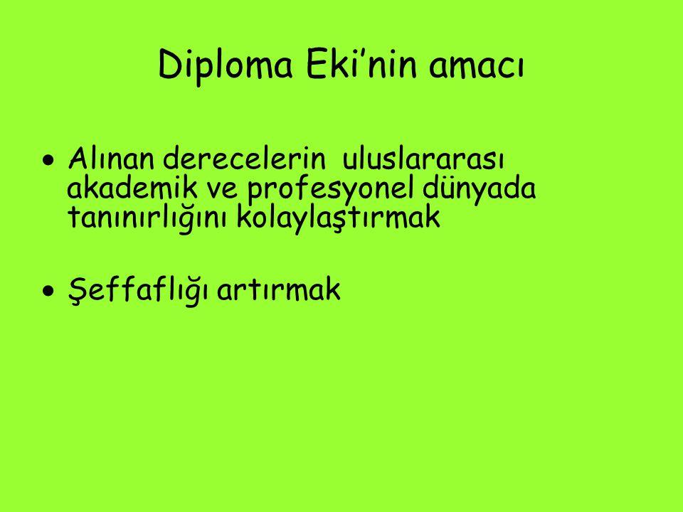 Diploma Eki'nin amacı  Alınan derecelerin uluslararası akademik ve profesyonel dünyada tanınırlığını kolaylaştırmak  Şeffaflığı artırmak