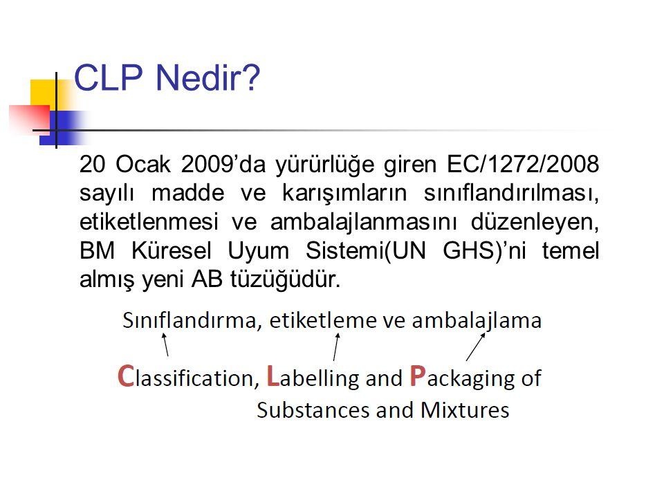 CLP 40 yıldan bu yana yürürlükte olan Tehlikeli Maddeler (Dangerous Substances Directive,DSD) (67/548/EEC) ve Tehlikeli Karışımlar (Dangerous Preparations Directive,DPD) (1999/45/EC) Direktiflerinin yerine geçecektir.
