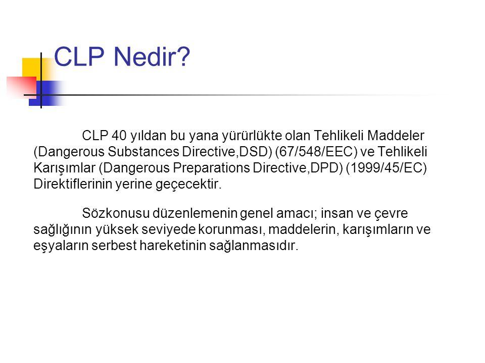 CLP Tüzüğü Nasıl Uygulanır Bir madde ya da karışım, CLP Tüzüğü'ndeki tehlike kategorilerine göre değerlendirilip, buna göre sınıflandırılmalıdır.