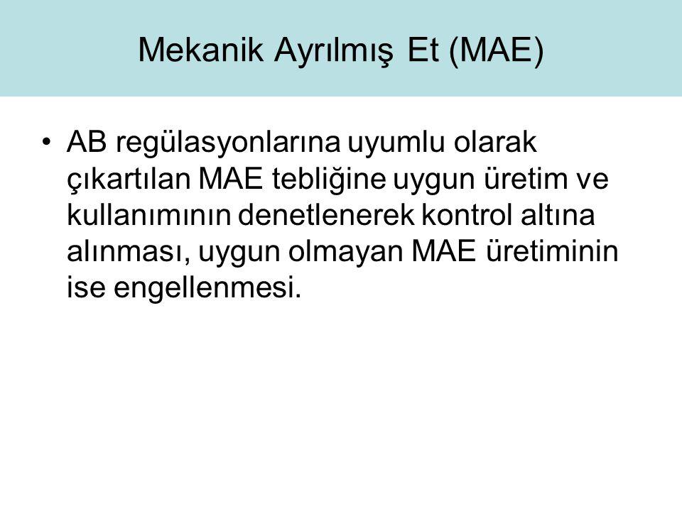 Mekanik Ayrılmış Et (MAE) AB regülasyonlarına uyumlu olarak çıkartılan MAE tebliğine uygun üretim ve kullanımının denetlenerek kontrol altına alınması