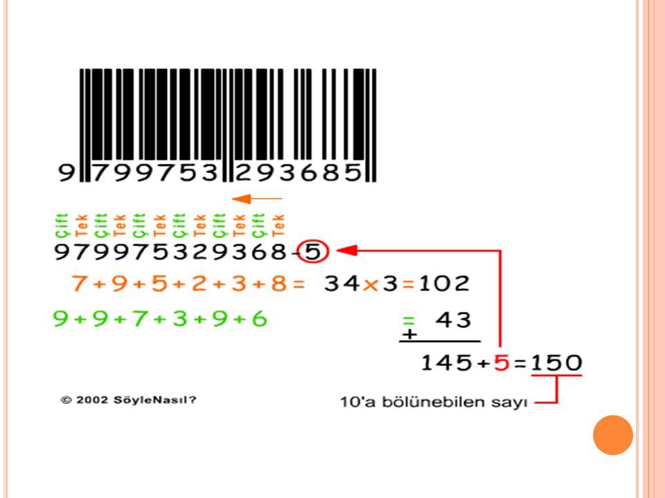 K ONTROL K ODUNUN H ESAPLANMASI Barkod tarayıcı makinası barkodu okuduğunda bazı matematiksel hesaplar yaparak okuduğu kodun doğru olup olmadığını kon