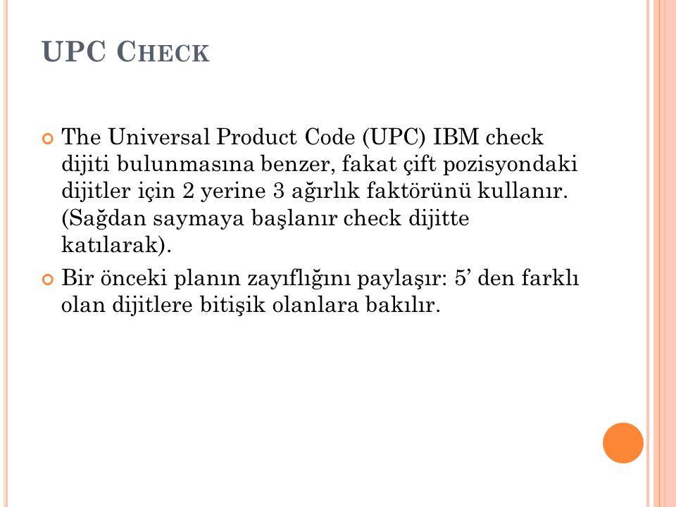 ISBN C HECK ISBN(International Standard Book Number), ağırlık kodunu kullanır. Her dijit bulunduğu pozisyona göre ağırlıklandırılır ve kontrol dijiti