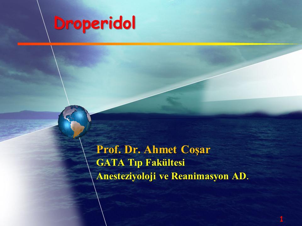 Droperidolun endikasyonları  Premedikasyon  Antiemetik  Nöroleptik  Sedasyon  Antipruritik  Postop analjezi  Migren tedavisi  Menier hastalığı  Psikozlar 12 Postopbulantı-kusmaPostopbulantı-kusma