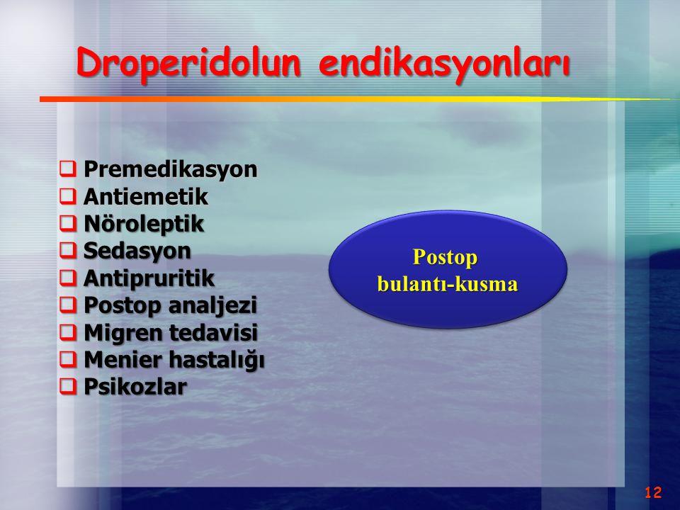 Droperidolun endikasyonları  Premedikasyon  Antiemetik  Nöroleptik  Sedasyon  Antipruritik  Postop analjezi  Migren tedavisi  Menier hastalığı
