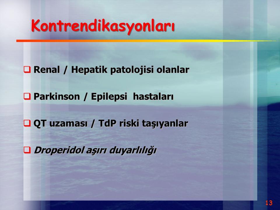 Kontrendikasyonları  Renal / Hepatik patolojisi olanlar  Parkinson / Epilepsi hastaları  QT uzaması / TdP riski taşıyanlar  Droperidol aşırı duyar