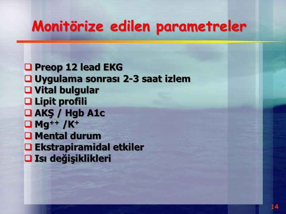 Monitörize edilen parametreler  Preop 12 lead EKG  Uygulama sonrası 2-3 saat izlem  Vital bulgular  Lipit profili  AKŞ / Hgb A1c  Mg ++ /K +  M
