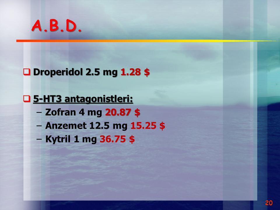 A.B.D.  Droperidol 2.5 mg 1.28 $  5-HT3 antagonistleri: 20.87 $ –Zofran 4 mg 20.87 $ –Anzemet 12.5 mg 15.25 $ –Kytril 1 mg 36.75 $ 20