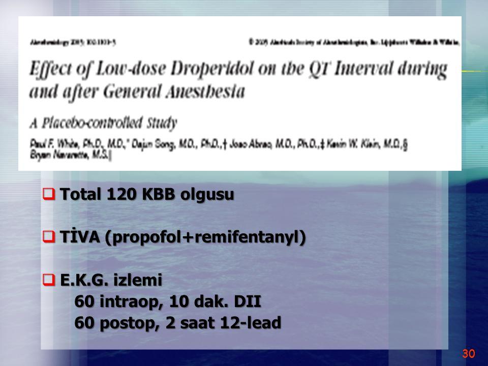  Total 120 KBB olgusu  TİVA (propofol+remifentanyl)  E.K.G. izlemi 60 intraop, 10 dak. DII 60 intraop, 10 dak. DII 60 postop, 2 saat 12-lead 60 pos