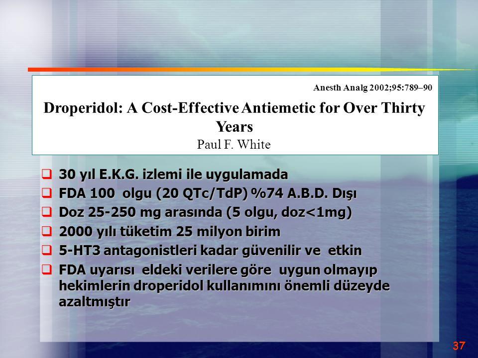  30 yıl E.K.G. izlemi ile uygulamada  FDA 100 olgu (20 QTc/TdP) %74 A.B.D. Dışı  Doz 25-250 mg arasında (5 olgu, doz<1mg)  2000 yılı tüketim 25 mi