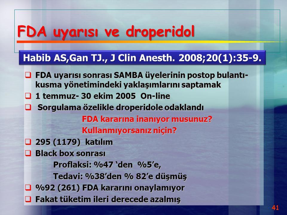 FDA uyarısı ve droperidol  FDA uyarısı sonrası SAMBA üyelerinin postop bulantı- kusma yönetimindeki yaklaşımlarını saptamak  1 temmuz- 30 ekim 2005