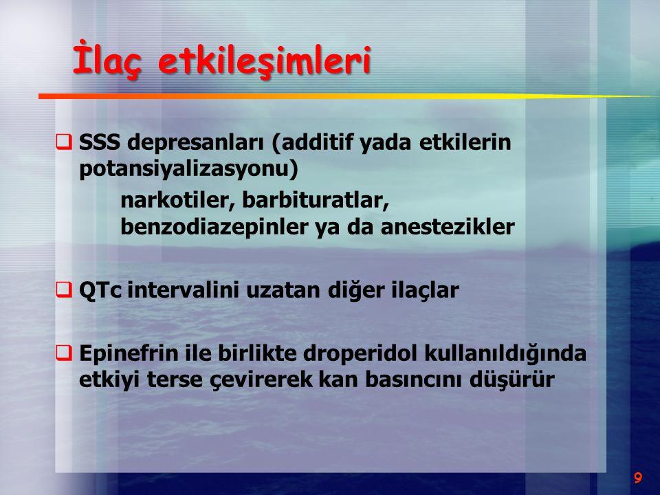 Droperidol klinik etkileri  Antiemetik  Sukunet hali  Azalmış motor aktivite  Anksiyolizis  Verbal yanıtda azalma  Antiaritmik  Antikonvulsan  SSS depresyonu  Antiadrenerjik  Antiprutik 10