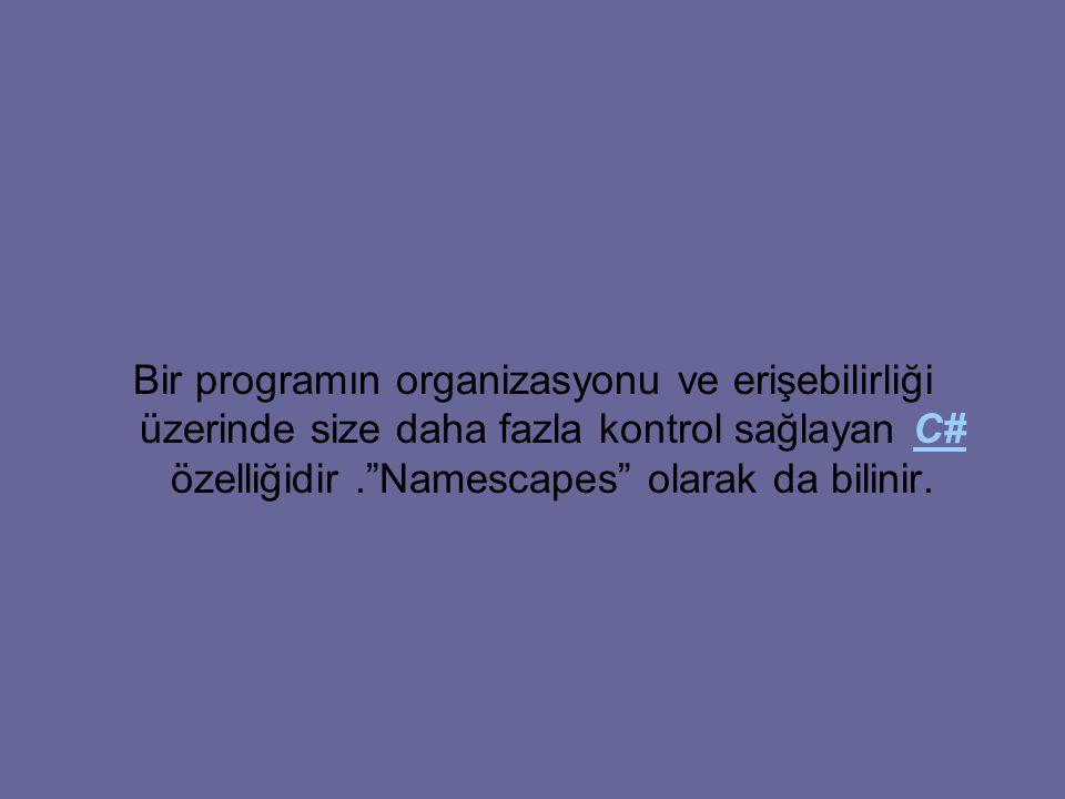 Bir programın organizasyonu ve erişebilirliği üzerinde size daha fazla kontrol sağlayan C# özelliğidir. Namescapes olarak da bilinir.