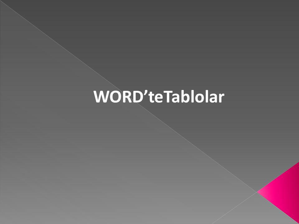 WORD'teTablolar