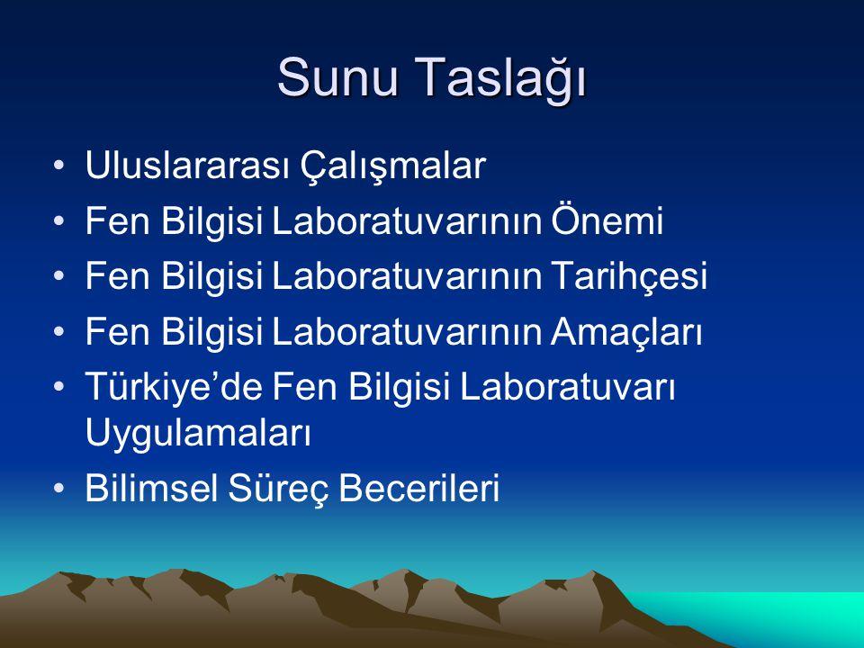 Sunu Taslağı Uluslararası Çalışmalar Fen Bilgisi Laboratuvarının Önemi Fen Bilgisi Laboratuvarının Tarihçesi Fen Bilgisi Laboratuvarının Amaçları Türkiye'de Fen Bilgisi Laboratuvarı Uygulamaları Bilimsel Süreç Becerileri