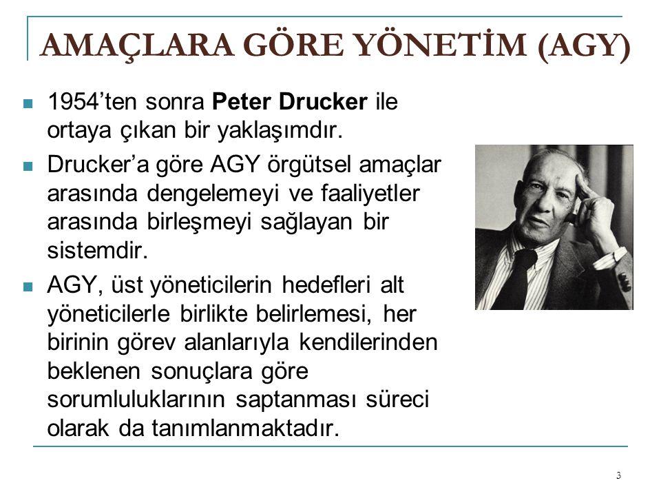 3 AMAÇLARA GÖRE YÖNETİM (AGY) 1954'ten sonra Peter Drucker ile ortaya çıkan bir yaklaşımdır.