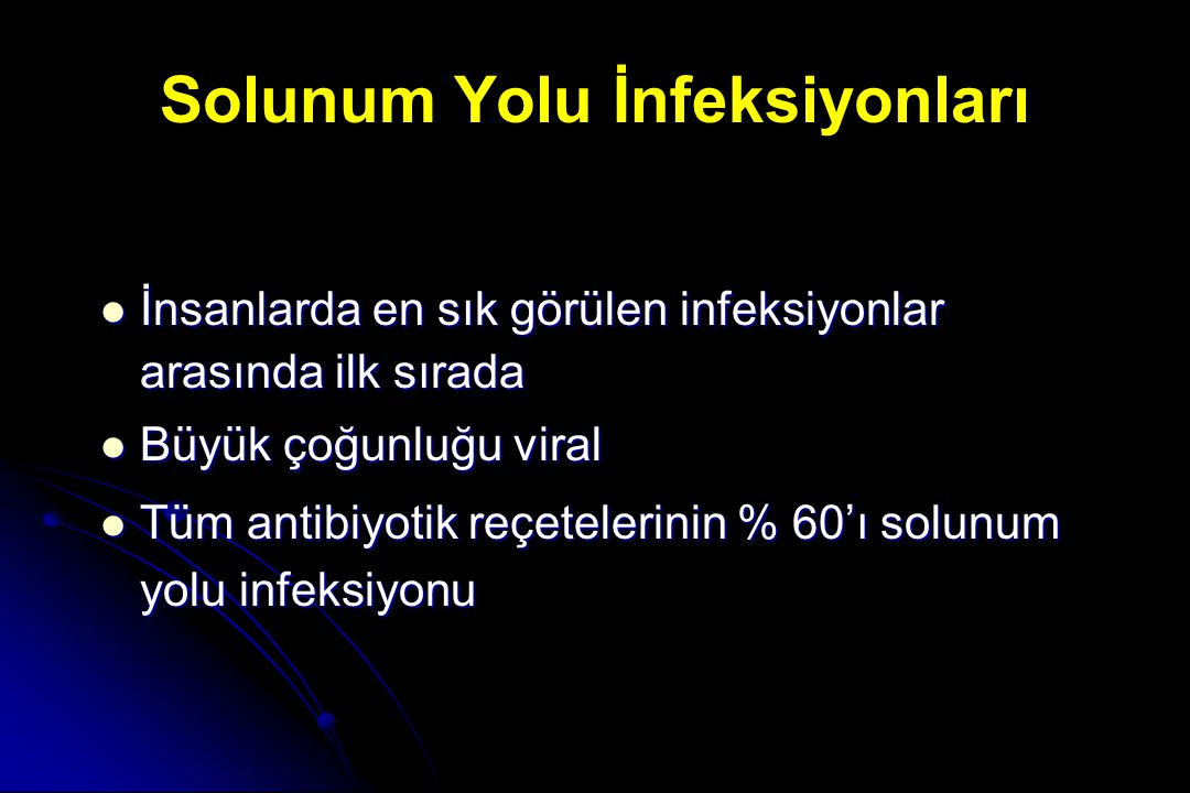 Solunum yolu infeksiyonları Üst Solunum Yolu İnfeksiyonları Akut tonsillofarenjit Akut sinüzit Akut otitis media Alt Solunum Yolu İnfeksiyonları Toplumdan edinilmiş pnömoniler Kronik bronşitin akut alevlenmeleri