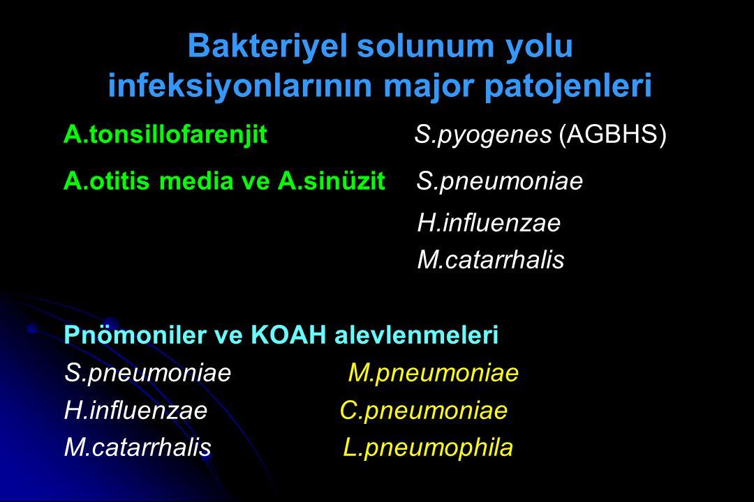 A.tonsillofarenjit S.pyogenes (AGBHS) A.otitis media ve A.sinüzit S.pneumoniae H.influenzae M.catarrhalis Pnömoniler ve KOAH alevlenmeleri S.pneumoniae M.pneumoniae H.influenzae C.pneumoniae M.catarrhalis L.pneumophila Bakteriyel solunum yolu infeksiyonlarının major patojenleri