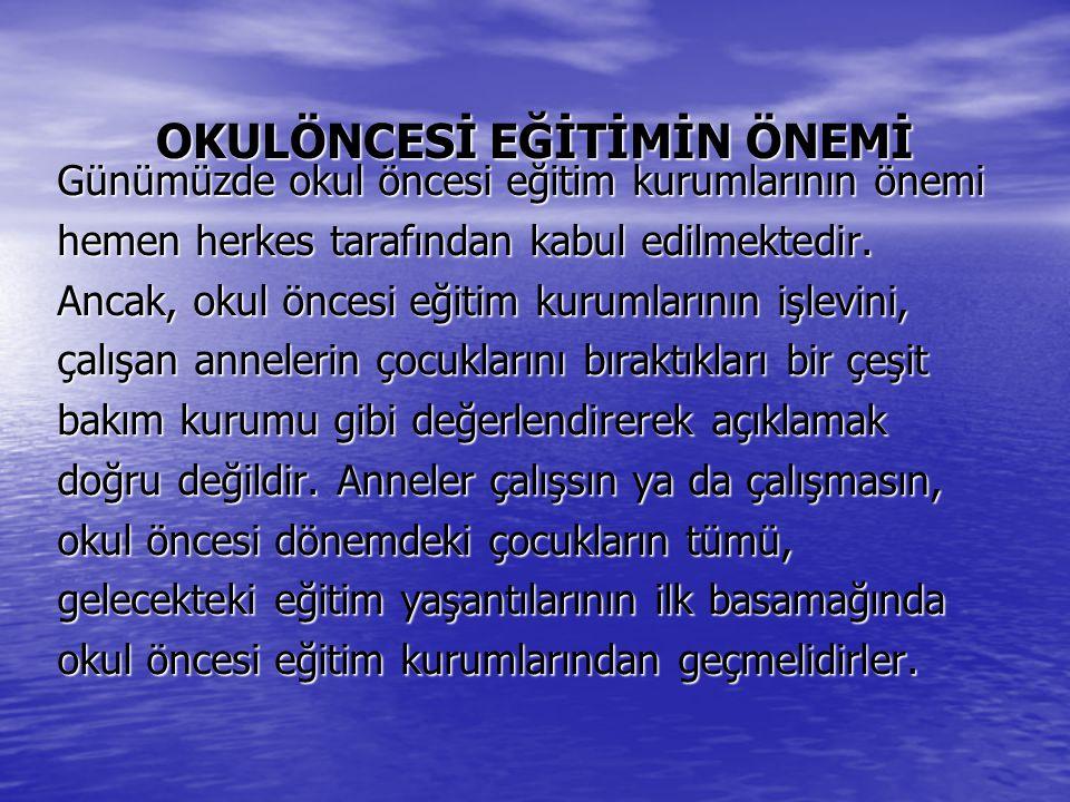 Özellikle gelişmekte olan ülkelerde olduğu gibi Türkiye'de de okul öncesi eğitim kurumları, olumsuz çevresel koşullarda yaşayan dezavantajlı bölgelerdeki çocukların diğer çocuklara göre eksik yöndeki eğitim ihtiyaçlarını karşılamaktadır.