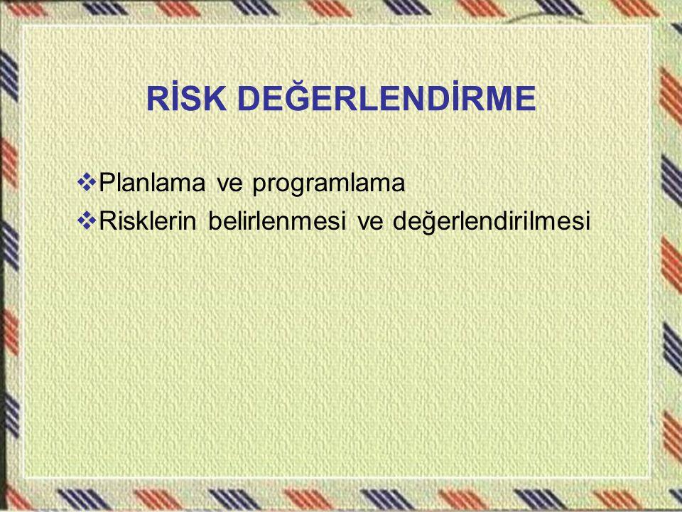 RİSK DEĞERLENDİRME  Planlama ve programlama  Risklerin belirlenmesi ve değerlendirilmesi