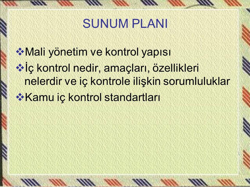 SUNUM PLANI  Mali yönetim ve kontrol yapısı  İç kontrol nedir, amaçları, özellikleri nelerdir ve iç kontrole ilişkin sorumluluklar  Kamu iç kontrol