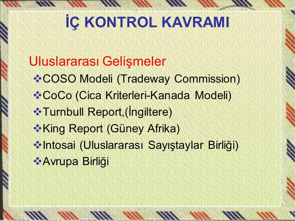 İÇ KONTROL KAVRAMI Uluslararası Gelişmeler  COSO Modeli (Tradeway Commission)  CoCo (Cica Kriterleri-Kanada Modeli)  Turnbull Report,(İngiltere) 