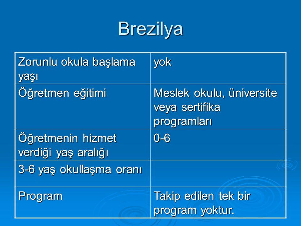 Brezilya Zorunlu okula başlama yaşı yok Öğretmen eğitimi Meslek okulu, üniversite veya sertifika programları Öğretmenin hizmet verdiği yaş aralığı 0-6