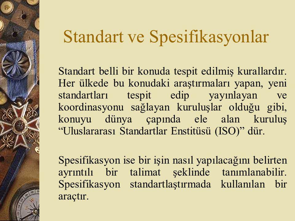 Standart ve Spesifikasyonlar Standart belli bir konuda tespit edilmiş kurallardır. Her ülkede bu konudaki araştırmaları yapan, yeni standartları tespi